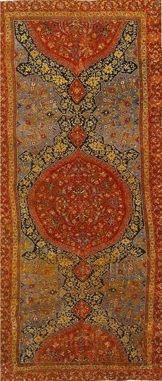 Here is an Ottoman court Usak Medallion carpet from around the 16th century.  The focal point of the rug is the central medallion but other, partial, medallions float above and below it, giving the impression that the patterns go on forever.  But if Ottoman court weavers seemed to enjoy creating such illusions of infinity, they were far from the only ones.