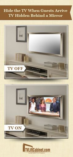 Tv hidden behind a mirror more bathroom tv mirror, mirror tv unit, mirrors, Bedroom Storage, Bedroom Decor, Bedroom Tv Wall, Bedroom Ideas, Tv In Bathroom, Tv Unit Furniture, Tv Covers, Hidden Tv, Hidden Storage
