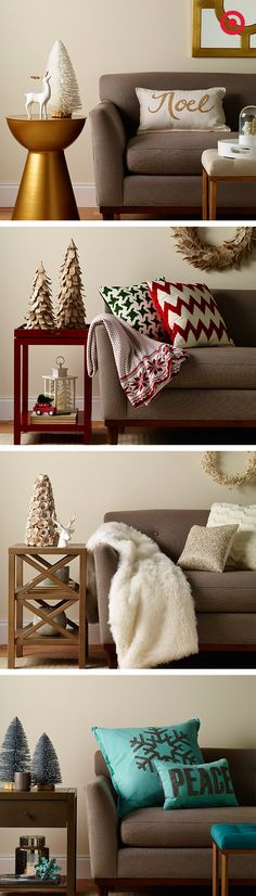 Bring some mix-and-match winter luxe to your neutral living room with a splash of color here, a mix of textures there and wintery accents everywhere. This is Christmas styled four times as nice.
