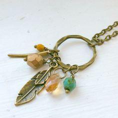 Boho Feather Charm Necklace / plume cornaline verre par CoastalSoul