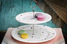 Two Tier Cake Stand Kiwi Dots