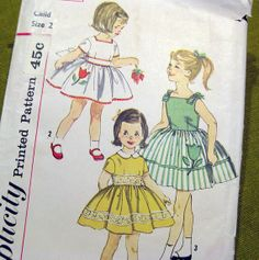 1960s Girls Party Dress with Embroidered Flower  by SelvedgeShop, $8.00