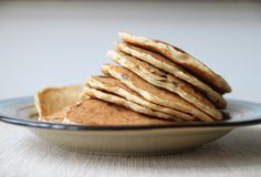 Blueberry Walnut Oatmeal Pancakes with Vanilla Maple Glaze