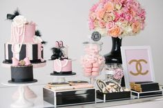 CoCO Chanel dessert table- cake, cupcakes, macaron, wall art, flowers...