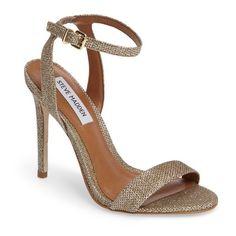 Women's Steve Madden Landen Ankle Strap Sandal ($90) ❤ liked on Polyvore featuring shoes, sandals, bronze faux leather, steve madden sandals, ankle strap sandals, stiletto heel sandals, ankle strap stilettos and ankle strap stiletto sandal