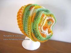 Riptide Slouch Hat / Tam Hat - Orange and green variegated