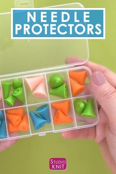 Knitting Needle Point Protectors help prevent knitting mistakes by keeping stitches securely on your needles. #StudioKnit #knitting #knittingtools Easy Knitting, Knitting Stitches, Knitting Needles, Tumbling Blocks, Little Stitch, Knitting Supplies, Yarn Shop, Circular Needles, Mistakes