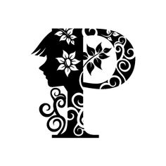Flower Clipart - Black Alphabet P with White Background | Download Free Flower Clipart, Designs, Gallery, Web Arts, Graphics, Images and Vector