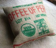 Upcycled 18 inch Burlap Peru Coffee Bag Pillow by redbarnartisans, $20.00