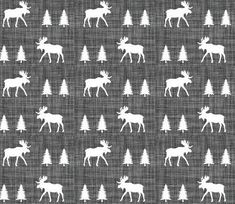 Crib Sheet Charcoal Moose. Fitted Crib Sheet. Baby by SuiteBaby