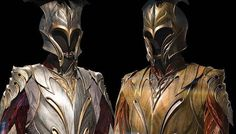 Rank can be determined by the armor an elf wears. Bronze armor is characteristic of a standard infantry fighter. Silver signifies a rank of leadership such as captain. If Tauriel were to be arrayed for battle, she would wear something similar to the armor on the left