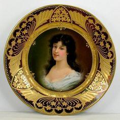 Royal Vienna Porcelain (Austria) — Portrait Plate (700x704) Antique Plates, Vintage Plates, Antique China, Vintage Tea, Japanese Porcelain, China Porcelain, Circle Borders, Art Nouveau, Plate Art