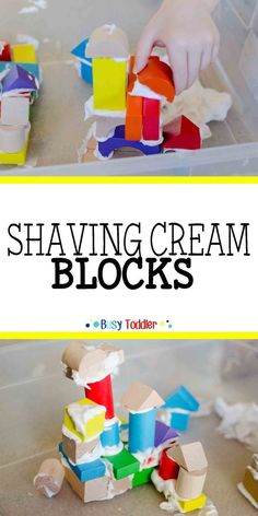 Shaving Cream Blocks: an easy toddler activity building with shaving cream and block. A great preschool activity that's easy to set up. Kids Activities Sensory Play Toddler STEM STEAM Engineering for Kids Motor Skills Activities, Stem Activities, Nursery Activities, Summer Activities, Winter Preschool Activities, Pre School Activities, Preschool Jobs, Creative Curriculum Preschool, Classroom Activities