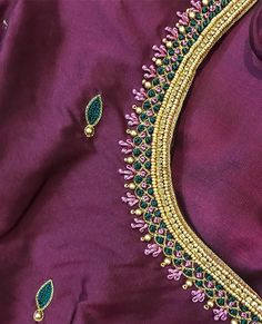 💗💗💗💗💗 Kindly ping us on 9884686333 for details and bookings Best Blouse Designs, Wedding Saree Blouse Designs, Saree Blouse Neck Designs, Simple Blouse Designs, Stylish Blouse Design, Embroidery Neck Designs, Hand Embroidery, Embroidery Stitches, Japanese Embroidery