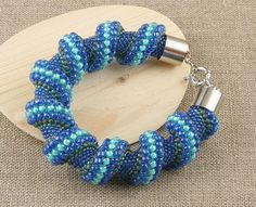Transparent Blue Spiral Beaded Bracelet by CatchTheBeads on Etsy