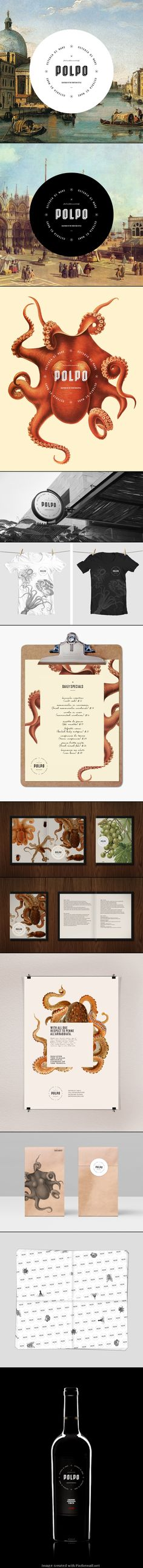 B+B - Print design - Polpo Restaurant by Richard Marazzi for all our squid/ octopus loving peeps : ) PD Menu Design, Corporate Design, Graphic Design Typography, Graphic Design Illustration, Print Design, Logo Design, Layout Design, Corporate Identity, Icon Design