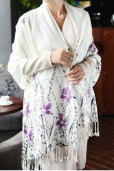 Charming Chinese Style Floral Print Tassels Pashmina For Women