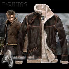 Resident Evil 4 leon leon deri ceket sahte kürk erkek kış moda deri ceket/s-4XL(China (Mainland))