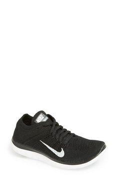 finest selection 4a163 080b7 Nike Free Flyknit 4.0 Running Shoe mesh textile black grey white, white