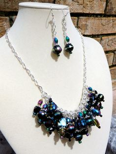 MIDNIGHT MARDI GRAS Color Study Necklace and Earrings Set ooak
