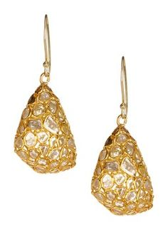 Gold Vermeil Diamond Puffed Drop Earrings - 6.00 ctw