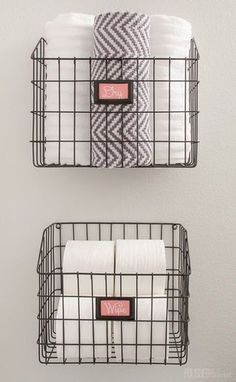 Mount baskets on the wall to add bathroom storage without paying for a pricey cabinet. - Bathroom Storage - Ideas of Bathroom Storage Bathroom Wall Storage, Diy Bathroom Decor, Bathroom Furniture, Bathroom Ideas, Bathroom Cabinets, Bathroom Interior, Bathroom Vanities, Bathroom Remodeling, Bathroom Wall Baskets