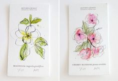 illustrative flowers with watercolour