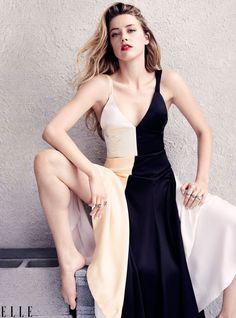 Amber Heard in silk black and cream dress by Céline   July 2015