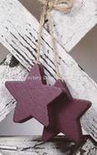Primitive Wooden Barn Red Stars on Jute