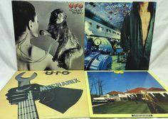 UFO Lot of 4 Vinyl Record Albums- Phenomenon Heavy Petting Lights Out Mechanix