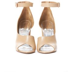 3.1 PHILLIP LIM Cody d Orsay Heel in Nude ($308) ❤ liked on Polyvore featuring shoes, sandals, heels, обувь, nude heel sandals, ankle tie sandals, open toe shoes, clear heel sandals and ankle wrap sandals