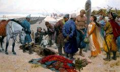 Vikings sell a slave to Central Asian traders somewhere in Russia. These sea faring people were able to sail their shipsright up the river system that courses through Russia and the Baltics. Their ships had very flat keels that allowed them to sail in very shallow water. ~ painting by Tom Lovell