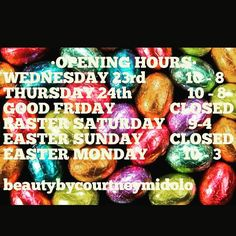 My Opening Hours have changed slightly the next week. Booking up fast call OR msg 0416575035 for an appt!  #beautybycourtney #hairology #beautician #janjuc #anglesea #torquay #geelong #surfcoast #waxing #tanning #tinting #nails #easter #longweekend #holidays by beautybycourtneymidolo http://ift.tt/1KosRIg