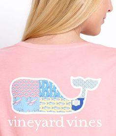 Vineyard Vines Patchwork Whale Tee in strawberry blonde
