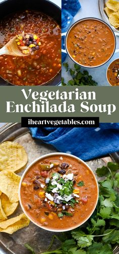 This vegetarian enchilada soup is a delicious combination of spicy flavors that's loaded with black beans and vegetables for an enticing meal! Vegetarian Enchiladas, Vegetarian Soups, Best Vegetarian Recipes, Easy Soup Recipes, Vegetarian Recipes Easy, Chili Recipes, Meat Recipes, Copycat Soup Recipe, Veal Stew