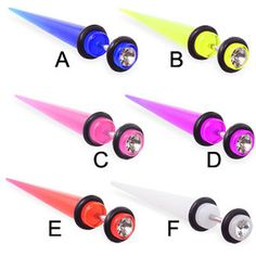 Fake UV acrylic taper with gem, 16 ga
