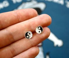 90s mini YIN YANG Stud Earrings by PenelopeMeatloaf on Etsy $12.00