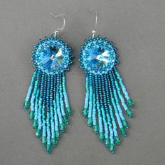 Turquoise and Blue Swarovski earrings    Seed bead by Anabel27shop, #beadwork