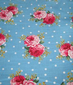 Hot Pink Roses Japanese Cotton fabric Blue by FrancisbelSupplies