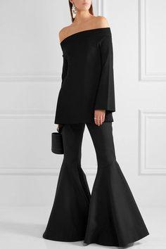 Solace London - Frida Off-the-shoulder Backless Stretch-knit Top - Black - UK14