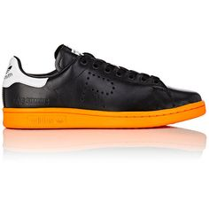 adidas x Raf Simons Women's Women's Stan Smith Leather Sneakers ($159) ❤ liked on Polyvore featuring shoes, sneakers, leather trainers, round toe sneakers, low profile sneakers, adidas sneakers and round toe shoes