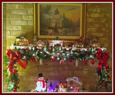 Christmas mantel, snow village, Christmas Village, garland