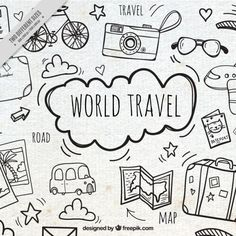 Fundo com viagens esboços Vetor grátis