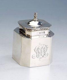 Teedose, England, Birmingham 1902, 925er Silber, Kordelverzierung, ligiertes Bes.-Monogramm, 8-eck