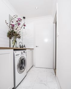 Downstairs powder room/ Laundry In this house we used the same bathroom subway tiles and a porcelain Calacatta tile on the floor Laundry Design, Laundry Decor, Laundry In Bathroom, Small Bathroom, Laundry Rooms, Reece Bathroom, Three Birds Renovations, Minimalist Bathroom Design