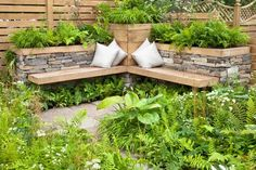 Garden Seating Design: Ideas for Small and Large Gardens - Garten Ideen - Terrasse Outdoor Seating Areas, Garden Seating, Garden Furniture, Outdoor Furniture Sets, Wooden Garden Planters, Garden Pavilion, Herb Garden Design, Cool Landscapes, Backyard Landscaping