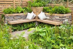 Garden Seating Design: Ideas for Small and Large Gardens - Garten Ideen - Terrasse Outdoor Seating Areas, Garden Seating, Garden Furniture, Outdoor Furniture Sets, Wooden Garden Planters, Garden Pavilion, Herb Garden Design, Land Scape, Backyard Landscaping