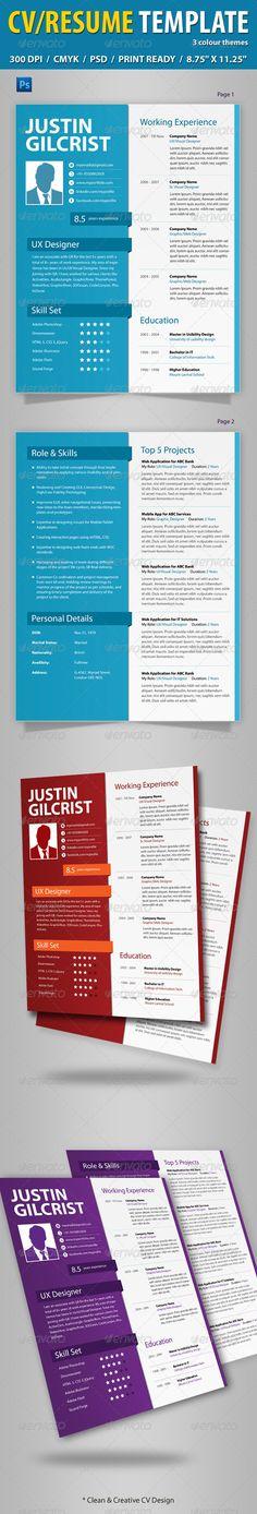 CV/Resume Template — Photoshop PSD #corporate #designer • Available here → https://graphicriver.net/item/cvresume-template/4964858?ref=pxcr