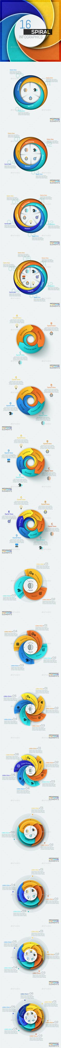 16 Spiral Infographic Templates — PSD Template #business #layout • Download ➝ https://graphicriver.net/item/16-spiral-infographic-templates/18651927?ref=pxcr