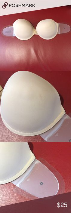 26c62e0954076 Backless strapless adhesive inside  wings bra sz D New with defect.on the  one cup
